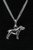 Zilveren Amerikaanse bulldog ongecoupeerd ketting hanger - klein