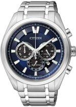 Citizen Super Titanium Chrono - Horloge - Titanium - 43 mm - Zilverkleurig / Blauw - Solar uurwerk