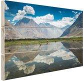 Mooi landschap in Leh Himalaya Hout 60x40 cm - Foto print op Hout (Wanddecoratie)