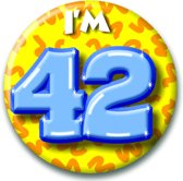 Button 42 jaar (55 mm)