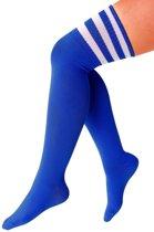 Lange sokken donkerblauw met witte strepen - 36-41 - kniekousen blauwe overknee kousen sportsokken cheerleader voetbal hockey unisex festival