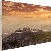 De Akropolis bij zonsondergang Hout 160x120 cm - Foto print op Hout (Wanddecoratie) XXL / Groot formaat!
