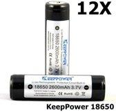 KeepPower 18650 2600mAh Oplaadbare batterij 12 stuks