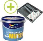 Flexa Powerdek Muurverf - 10L - Muren & Plafonds - Stralend Wit  + Professionele Muurverfset 6-delig