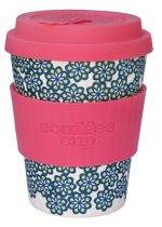 Ecoffee Cup Bamboe Beker - 340 ml Like, Totally! met Roze Siliconen