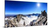 Zonnestralen boven het besneeuwde gebergte in China Aluminium 40x20 cm - Foto print op Aluminium (metaal wanddecoratie)