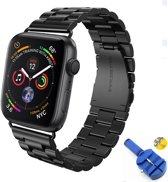 Metalen Armband Voor Apple Watch Series 4 44 MM Horloge Band Strap - iWatch Schakel Polsband RVS - Zwart