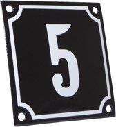 Emaille huisnummer zwart/wit nr. 5 10x10cm