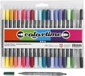 Colortime dubbelstift, lijndikte: 2,3+3,6 mm, extra kleuren, 20stuks