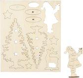 DIY Houten figuren, kerstman, kerstbomen, hert, l: 20 cm, b: 17 cm, triplex, 1doos, dikte 3 mm
