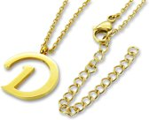Amanto Ketting D Gold - Unisex - 316L Staal Goudkleurig PVD - Letter - 18 x 16 - 50 cm