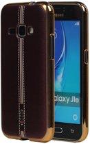 M-Cases Bruin Leder Design TPU back case hoesje voor Samsung Galaxy J1 2016
