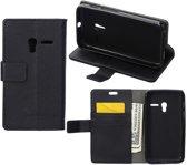 Litchi Cover wallet case hoesje Alcatel One Touch Pop 3 5.0 zwart