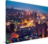 Uitzicht op de Chinese stad Qingdao Canvas 60x40 cm - Foto print op Canvas schilderij (Wanddecoratie woonkamer / slaapkamer) / Aziatische steden Canvas Schilderijen
