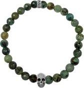Heren armband met beads - schedel - natuursteen 6 - cm) - / zilverkleurig