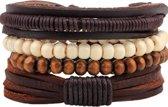 Montebello Armbanden Adib - Heren - leer - Kralen - Touw - 4-delig - 20 - 23 cm