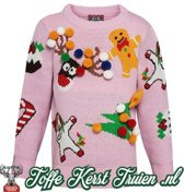 Toffe kersttrui Kids 3D Kids mix and match roze  3/4 jaar