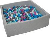 Ballenbak - stevige ballenbad - 120x120 cm - 900 ballen Ø 7 cm - wit, blauw, roze, grijs, turquoise.