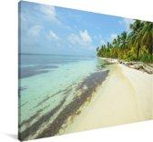 Helder water bij de Panamese San Blas-eilanden in Noord-Amerika Canvas 90x60 cm - Foto print op Canvas schilderij (Wanddecoratie woonkamer / slaapkamer)