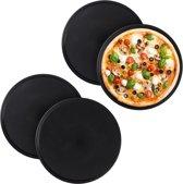 relaxdays 4 x pizzaplaat - antiaanbaklaag - pizzavorm - rond - carbonstaal – grijs