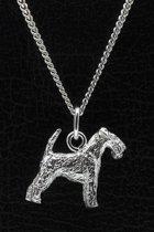Zilveren Welsh terrier ketting hanger - groot
