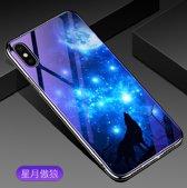 Schokbestendige Hybride Blauw Licht Back Cover voor Huawei  Mate 20 Lite _ Maanlicht Wolf