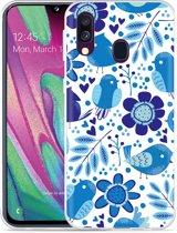 Galaxy A40 Hoesje Blue Bird and Flowers