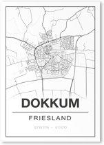 Poster/plattegrond DOKKUM - 30x40cm
