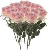 10x Licht roze rozen Simone kunstbloemen 45 cm