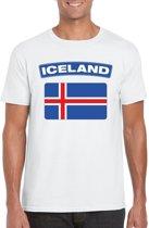 IJsland t-shirt met IJslandse vlag wit heren XL