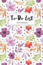 To-Do List Notebook: Watercolor Flower Cover - 110 Daily Work Day Checklist - To-Do Lists Prioritize Task with Checkboxes - Things to Accom