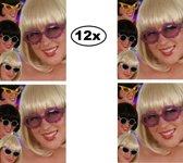 12x Bril Glitter kind assortie