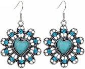 Fako Bijoux® - Oorbellen - Tibetaanse Stijl - Turquoise - Bloem Hart