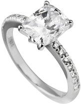Diamonfire - Zilveren ring met steen Maat 17.0 - Rechthoekige Solitaire - Bezette band