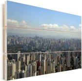 Stadsgezicht van de grootste stad van Brazilië in São Paulo Vurenhout met planken 120x80 cm - Foto print op Hout (Wanddecoratie)