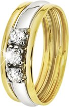 Lucardi - Bicolor gouden ring met zirkonia