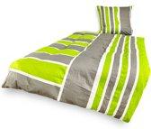 Lumaland - Beddengoedovertrek - Mako-satijn - 155x220 cm + 80x80 cm - Green Florence