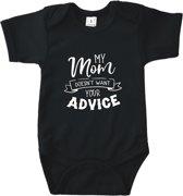 Baby rompertje My mommy doesn't want your advice.   Korte mouw 74/80 zwart