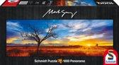 Schmidt Puzzel - Desert Oak bij zon's ondergang - Panorama - 1000 Stukjes