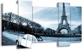 Schilderij | Canvas Schilderij Steden, Parijs | Blauw, Grijs | 120x65cm 5Luik | Foto print op Canvas