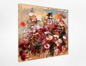Herfst bloemen 80x80 cm, Kunst schilderij Afgedrukt op Canvas 100% katoen uitgerekt op het frame van hoge kwaliteit, muurhanger geïnstalleerd.