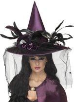 Luxe paarse heksenhoed voor vrouwen - Verkleedhoofddeksel