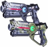 2x Light Battle Active laserpistool camo groen/grijs | Laser Game Set