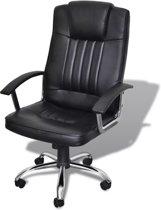 vidaXL - Bureaustoel Bureaustoel leer met exclusief design zwart 65 x 66 x 107 -117 cm