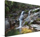 Wilde watervallen in het nationaal park Peneda-Gerês in Portugal Canvas 140x90 cm - Foto print op Canvas schilderij (Wanddecoratie woonkamer / slaapkamer)