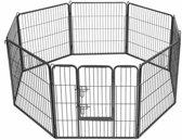 MaxxPet Hondenren - puppyren met 8 kennelpanelen staal 80x80cm - Ø 210 cm