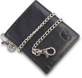 Safekeepers portemonnee met ketting - Staand model - RFID - Echt leer - Kaapstad - Zwart