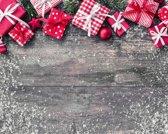 Kerst Vinyl Placemat | Vergrijsd hout | 6 stuks (1 gratis)