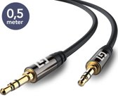 LifeGoods Stereo Audio Jack Kabel 3.5 mm - AUX Kabel Gold Plated - Male to Male - Jack To Jack – Universeel - Voor Auto, Telefoon, Samsung, Apple iPhone, iPod, iPad - Zwart -  0,5 meter
