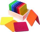 grimm's bouwplaten vierkant - regenboog (40st)
